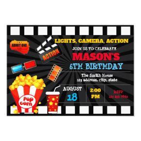 Cute movie ticket birthday invitation
