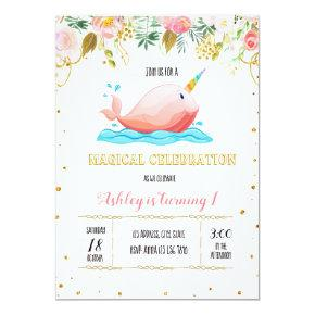 Cute narwhal party invitation