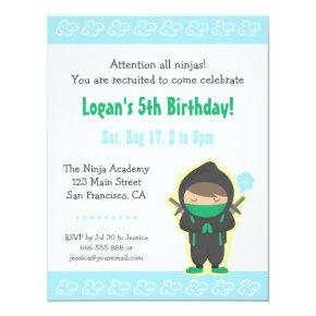 Cute Ninja Boy Kids Birthday Party Invitations