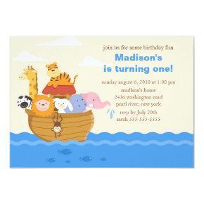 Cute Noah's Ark 1st Birthday Invitations