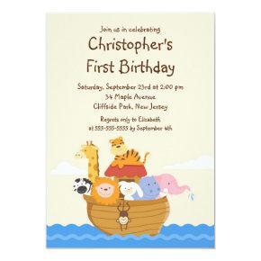 Cute Noah's Ark Baby Animals Birthday Party Invitation