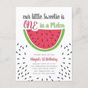 Cute One In A Melon Watermelon Kids 1st Birthday Invitation Post