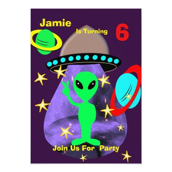 cute outer space alien themed birthday party invitations
