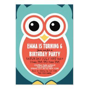 Cute Owl Bird Birthday Invitation Card for Kids
