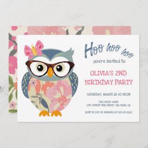 Cute Owl Butterfly Flowers Girls Birthday Invitation
