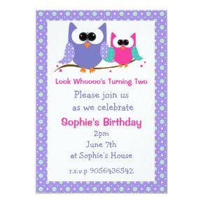Cute Owls Kids Birthday Party Invitations