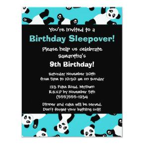 Cute Panda Birthday Sleepover Party Invitations
