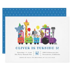 Cute Party Animals Train Kids' Birthday Party Invitation