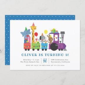 Cute Party Animals Train Kids' Birthday Party Invitation