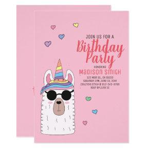 Cute Party Llamacorn Birthday Invitation