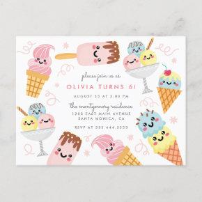 Cute Pastel Ice-cream Kid's Birthday Party Invitation Post