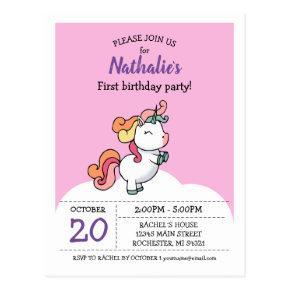 Cute pastel unicorn 1st birthday invitation post