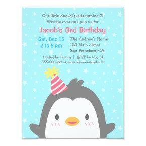 Cute Penguin December Birthday Party Invitations