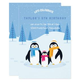 cute penguin winter birthday invitation card