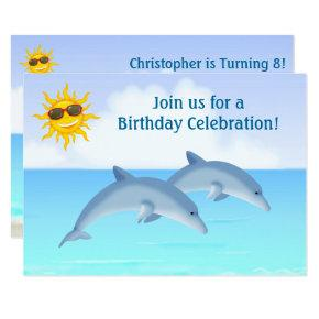 Dolphin birthday invitations candied clouds cute personalized dolphins beach birthday invite filmwisefo