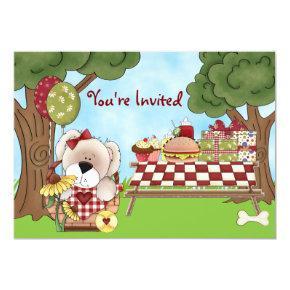 Cute Personalized Puppy Dog Picnic Girls Birthday Invitation