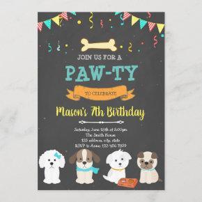 Cute pet dog birthday shower invitation