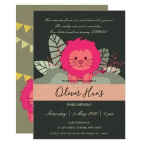 CUTE PINK BABY JUNGLE LION LEAVES BIRTHDAY INVITE