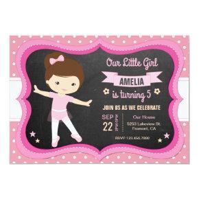 Cute Pink Ballerina Girl Birthday Party Invitation