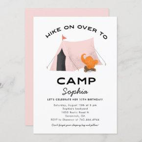 Cute Pink Camping Birthday Party Invitation
