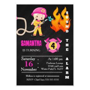 Cute Pink Firefighter Birthday Invitation