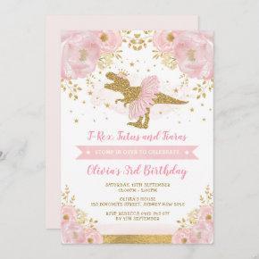 Cute Pink Gold Princess Dinosaur Girl Birthday Invitation