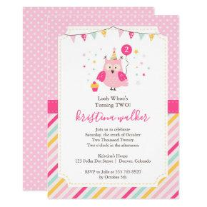 Cute Pink Owl Birthday Party Invitations