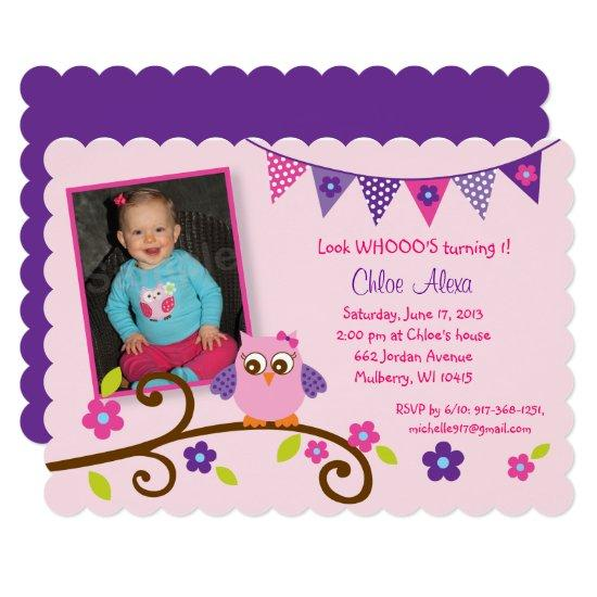 Cute pink purple owl 1st birthday invitations candied clouds cute pink purple owl 1st birthday invitations filmwisefo