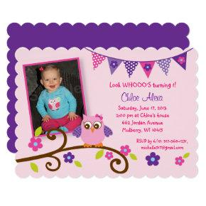 Cute Pink & Purple Owl 1st Birthday Invitation
