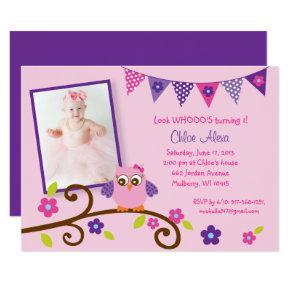 Cute Pink & Purple Owl Birthday Invitations