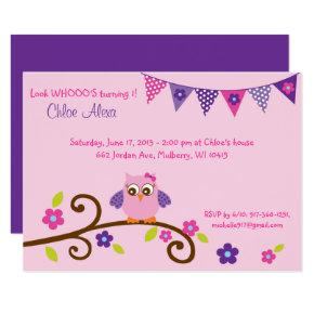 Cute Pink & Purple Owl Birthday Invitation