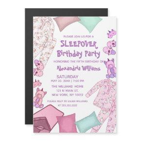 Cute Pink Purple Unicorn Pajama Sleepover Birthday Magnetic Invitation