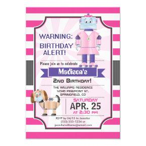 Cute Pink Robot, Girl's Birthday Party Invitation