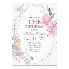 Cute Pink Rose Geometric Girls 13th Birthday Party Card