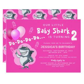 Cute Pink Shark | Pink Balloons Birthday Invitation