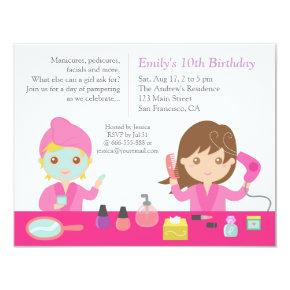 Cute Pink Spa Birthday Party Invitations