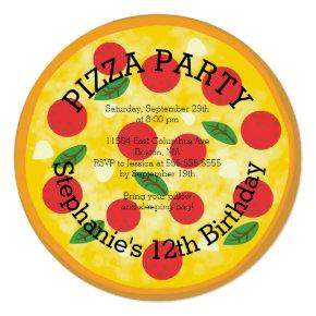 Cute Pizza Party Birthday Party Invitation