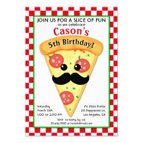 Cute Pizza Party Kid's Birthday Invitations