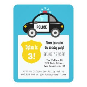 Cute Police Car Kids Birthday Party Card