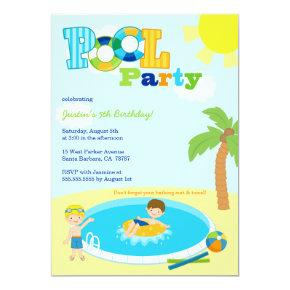 Cute pool party boys birthday party invitation