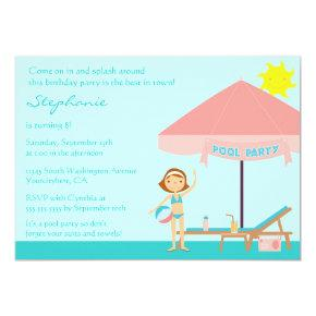 Cute pool party girl's birthday party Invitations