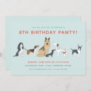 Cute Puppies Children's Dog Birthday Party Invitation