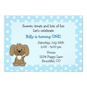 Cute Puppy 1st Birthday Invitations for Boys