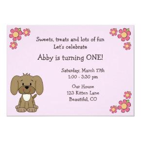 Cute Puppy 1st Birthday Invitations for Girls