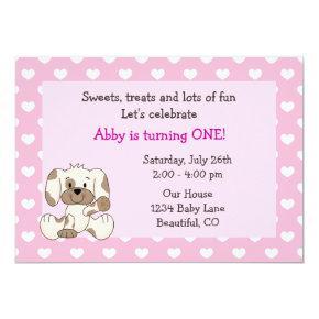 Cute Puppy Dog 1st Birthday Girls Invitation