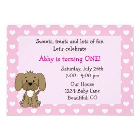 Cute Puppy Dog and Hearts Girls Pink 1st Birthday Invitation