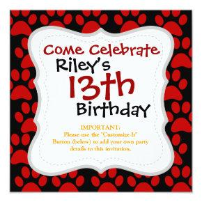 Cute Puppy Dog Paw Prints Red Black Invitations