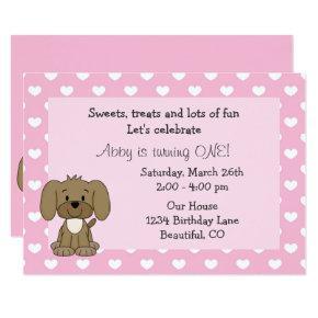 Cute Puppy Dog, White Hearts on Pink 1st Birthday Invitation