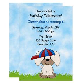 Cute Puppy Dog with Baseball Hat Birthday Invitation