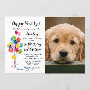 Cute Puppy Pawty - Pet Photo Puppy Birthday Party Invitation